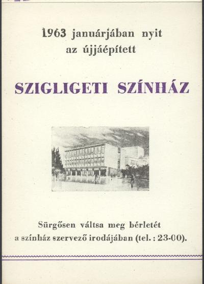 A Szigligeti Színház 1962/63-as évad műsorterve