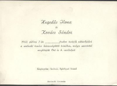 Hegedűs Ilona és Kovács Sándor esküvői meghívója