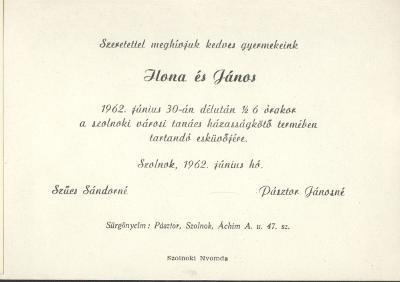 Szűcs Ilona és Pásztor János esküvői meghívója