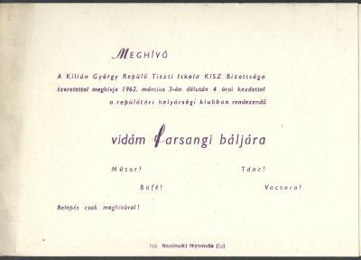 A Kilián György Repülőtiszti Iskola Farsangi bált rendez