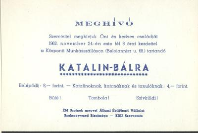 Katalin báli meghívó