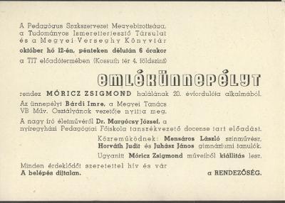 Emlékünnepély Móricz Zsigmond halálának 20. évfordulójára