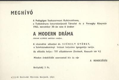 """Meghívó """"A modern dráma"""" című színházi ankétra"""