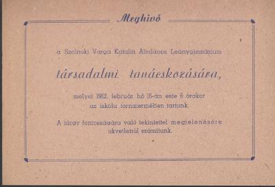 Meghívó a szolnoki Varga Katalin Általános Leánygimnázium társadalmi tanácskozására