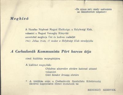 """Meghívó a """"Csehszlovák Kommunista Párt harcos útja"""" című kiállításra"""