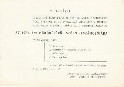 Szolnok megyei labdarúgó Szövetség 1961. évi beszámolója