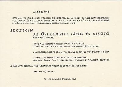 Meghívó Szczecin: Az ősi lengyel város és kikötő című kiállításra