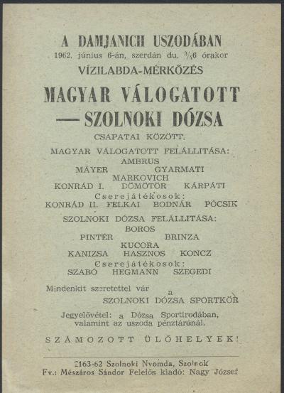 Magyar Válogatott - Szolnoki Dózsa vízilabda mérkőzés
