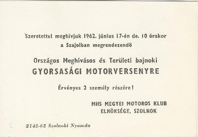Országos Meghívásos és Területi bajnoki gyorsasági motorverseny