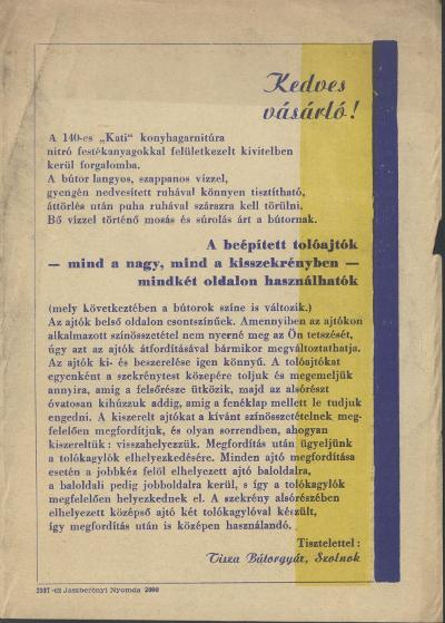 A szolnoki Tisza Bútorgyár szórólapja