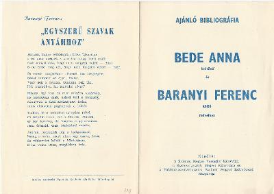 Ajánló bibliográfia Bede Anna és Baranyi Ferenc műveihez