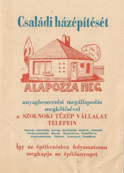 Szolnoki TÜZÉP Vállalat hirdetése