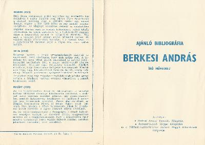 Ajánló bibliográfia Berkesi András író műveihez