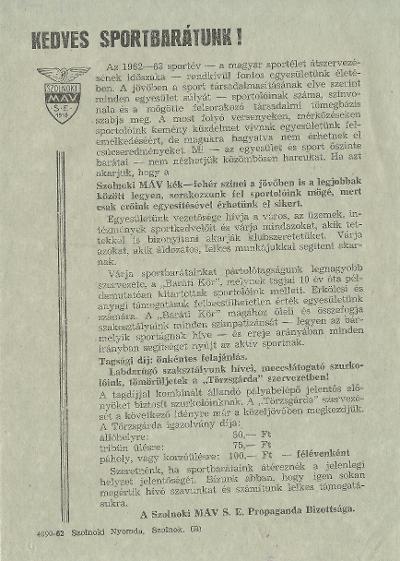 A szolnoki MÁV S. E. Propaganda Bizottságának tájékoztatója