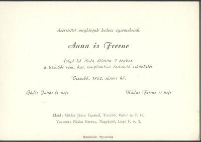 Gödér Anna és Nádas Ferenc esküvői meghívója