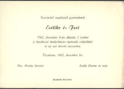 Postás Eszter és Szabó Ferenc esküvői meghívója
