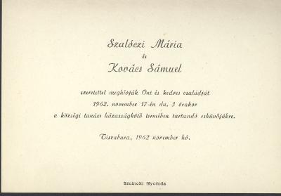Szalóczi Mária és Kovács Sámuel esküvői meghívója