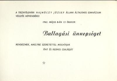 A Hajnóczy József Állami Általános Gimnázium ballagási meghívója