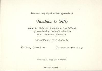 Jusztina és Illés esküvői meghívója
