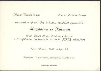 Sólyom Magdolna és Kovács Kálmán esküvői meghívója