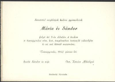 Mária és Sándor esküvői meghívója