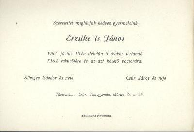 Süveges Erzsébet és Csúr János esküvői meghívója