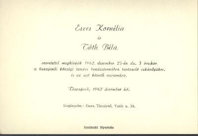 Eszes Kornélia és Tóth Béla esküvői meghívója