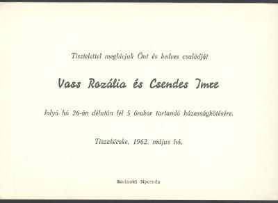 Vass Rozália és Csendes Imre esküvői meghívója