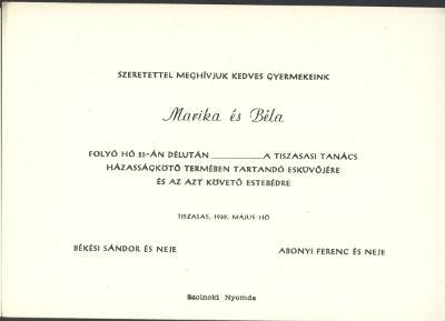 Marika és Béla esküvői meghívója