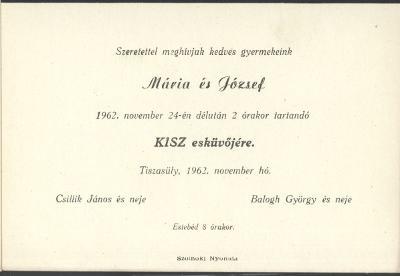 Mária és József esküvői meghívója
