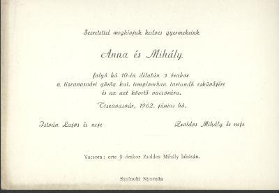 István Anna és Zsoldos Mihály esküvői meghívója