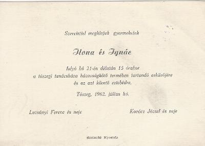 Ilona és Ignác esküvői meghívója