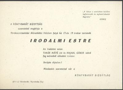 A Könyvbarát Bizottság meghívója Tímár Máté és Hajnal Gábor Irodalmi estjére