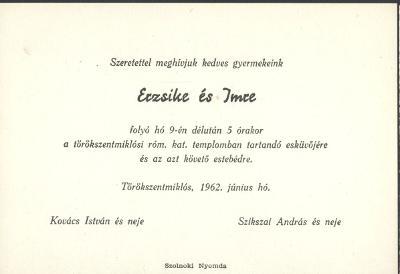 Erzsike és Imre esküvői meghívója