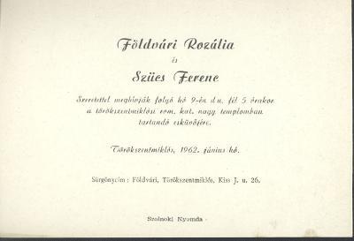Földvári Rozália és Szűcs Ferenc esküvői meghívója