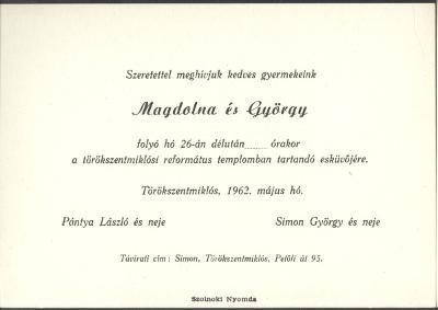 Pántya Magdolna és Simon György esküvői meghívója