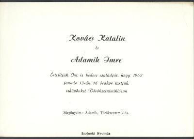 Kovács Katalin és Adamik Imre esküvői meghívója