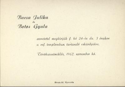 Bacsa Julika és Botos Gyula esküvői meghívója