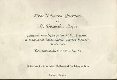 Sipos Julianna Jusztina és ifj. Pozderka Lajos esküvői meghívója