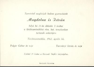 Polgár Magdolna és Turcsányi István esküvői meghívója