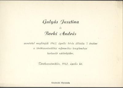 Gulyás Jusztina és Borhi Lajos esküvői meghívója