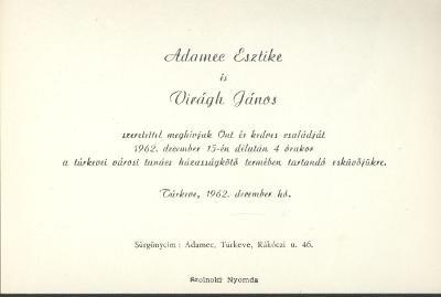 Adamec Erzsébet és Virágh János esküvői meghívója