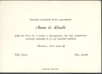 Tóth Anna és Bene László esküvői meghívója