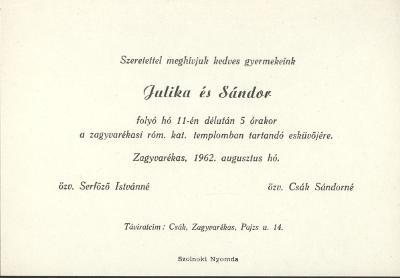 Serfőző Julika és Csák Sándor esküvői meghívója