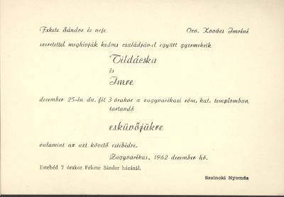 Fekete Tilda és Kovács Imre esküvői meghívója