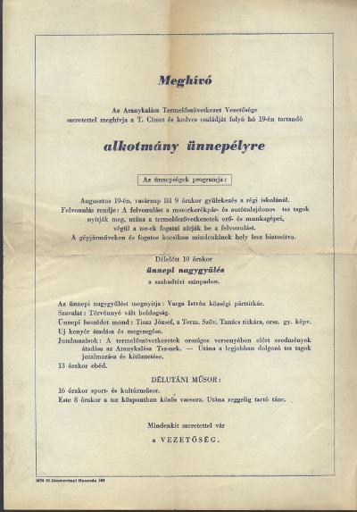 Meghívó alkotmány ünnepélyre
