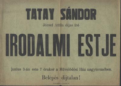 Meghívó Tatay Sándor, József Attila díjas író irodalmi estjére
