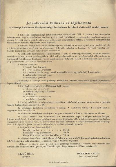 Jelentkezési felhívás és tájékoztató a karcagi Felsőfokú Mezőgazdasági Technikum levelező előkészítő tanfolyamára