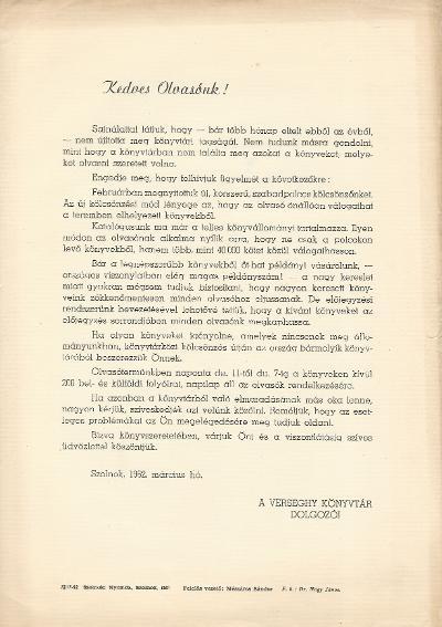 Verseghy Ferenc Könyvtár tájékoztató levele