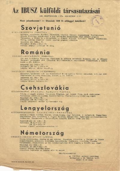 Az IBUSZ külföldi társasutazásainak listája